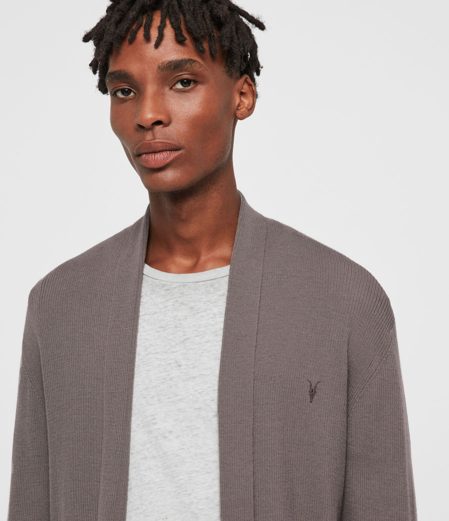 Mens Mode Merino Open Cardigan (engine_grey_marl) - Image 2