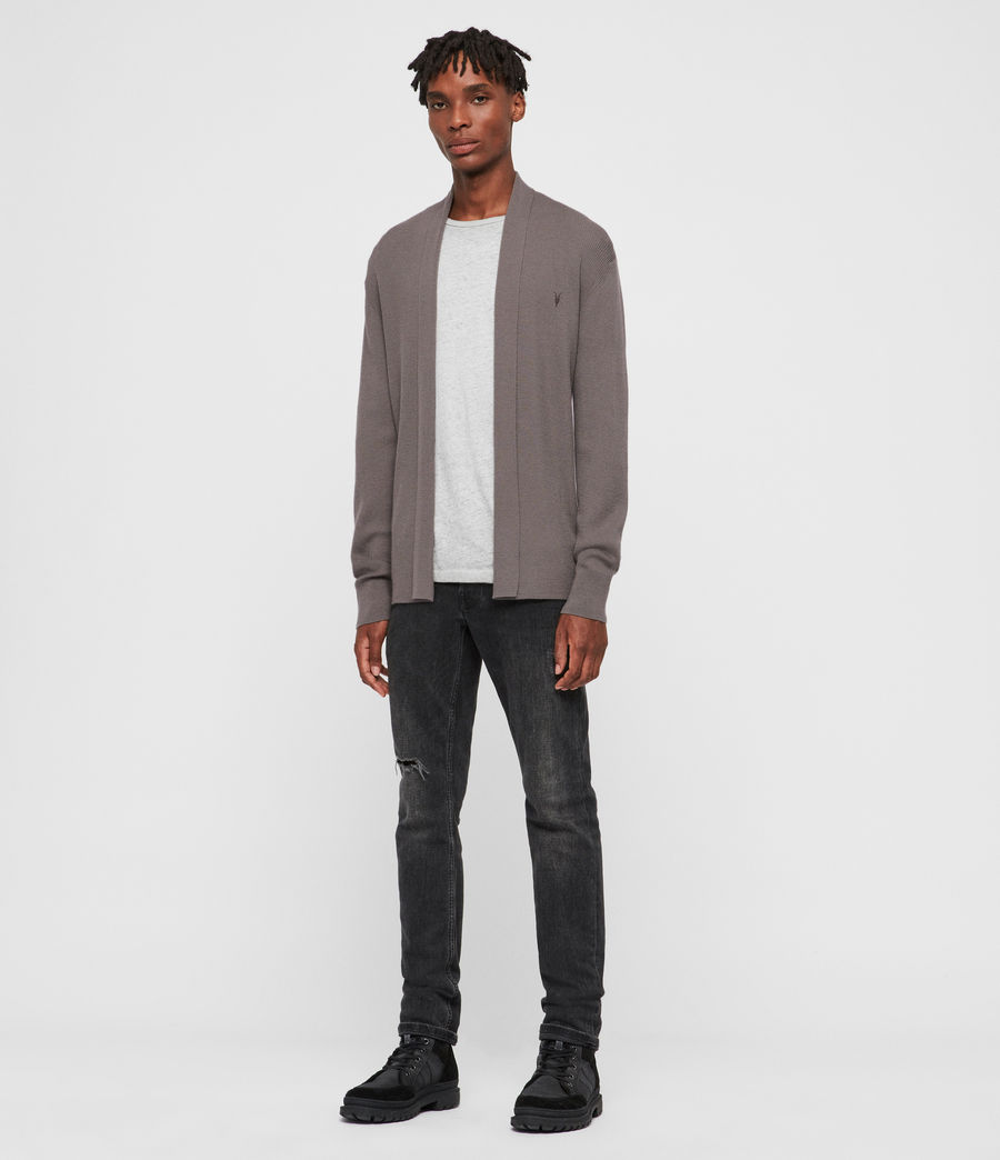 Mens Mode Merino Open Cardigan (engine_grey_marl) - Image 3
