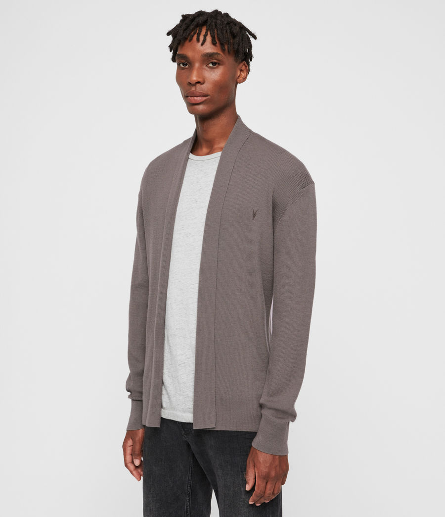 Mens Mode Merino Open Cardigan (engine_grey_marl) - Image 4