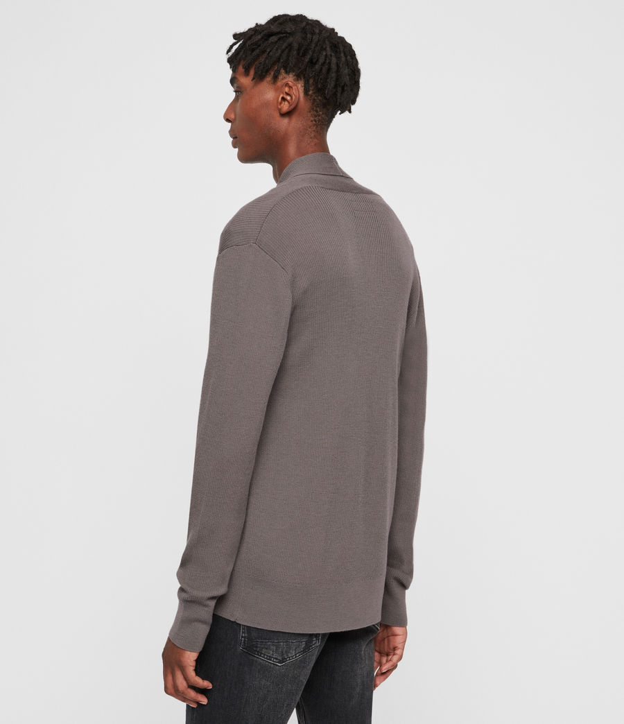 Mens Mode Merino Open Cardigan (engine_grey_marl) - Image 5