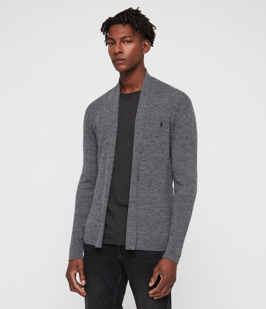 Mens Mode Merino Open Cardigan (charcoal_mouline) - Image 1