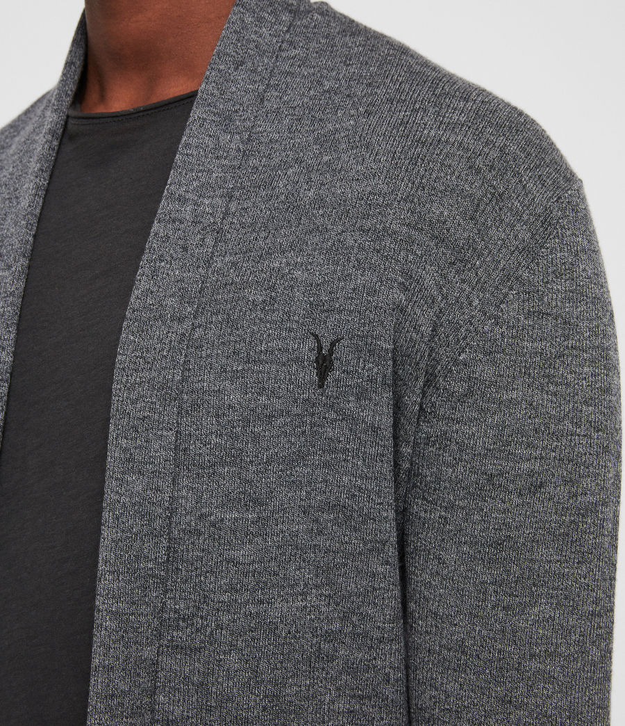 Mens Mode Merino Open Cardigan (charcoal_mouline) - Image 2