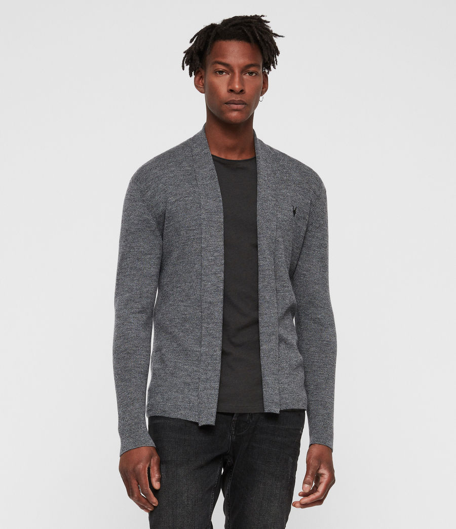 Mens Mode Merino Open Cardigan (charcoal_mouline) - Image 3