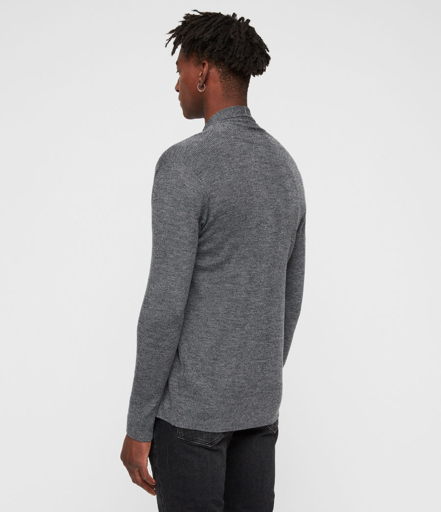 Mens Mode Merino Open Cardigan (charcoal_mouline) - Image 4