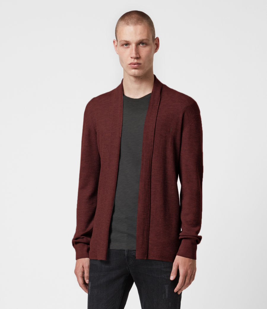 Mens Mode Merino Open Cardigan (burgundy_red) - Image 1