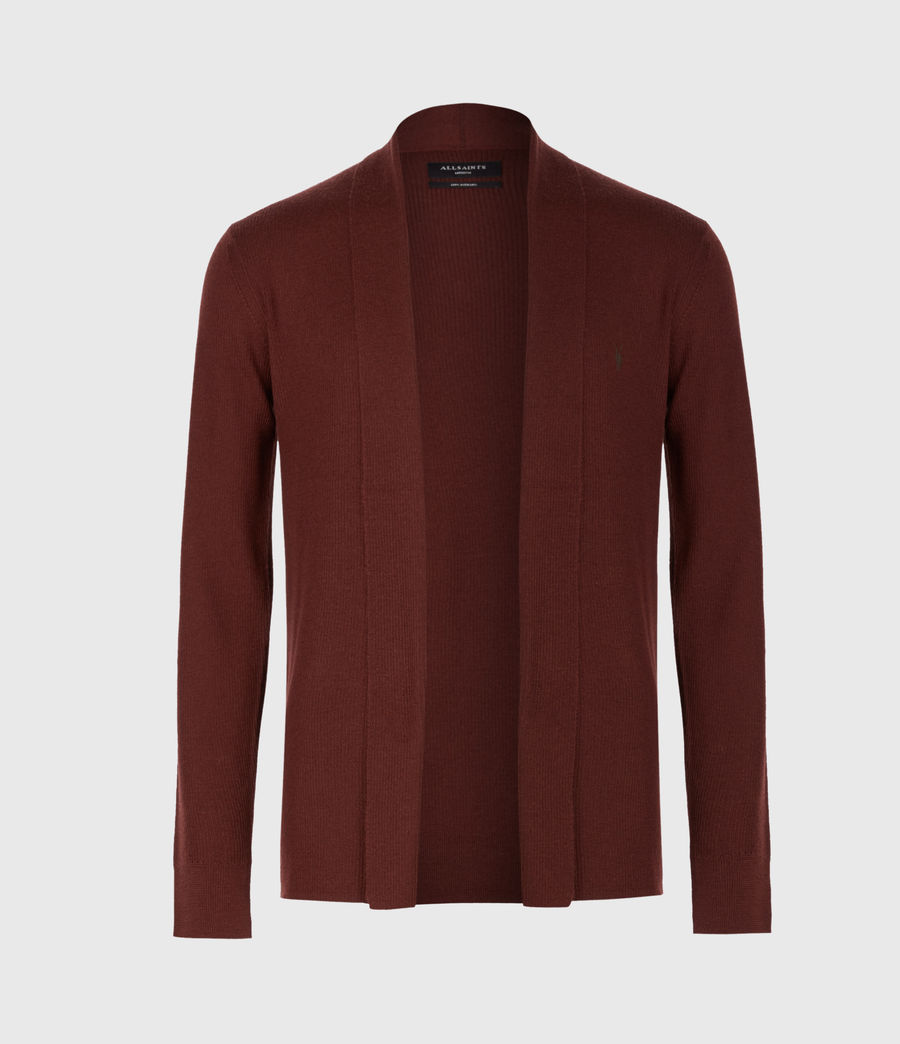 Mens Mode Merino Open Cardigan (burgundy_red) - Image 2