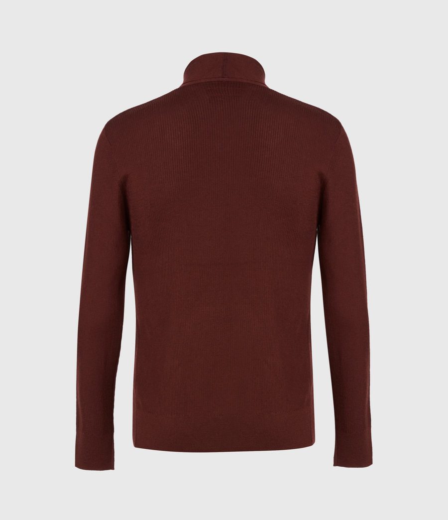 Mens Mode Merino Open Cardigan (burgundy_red) - Image 3