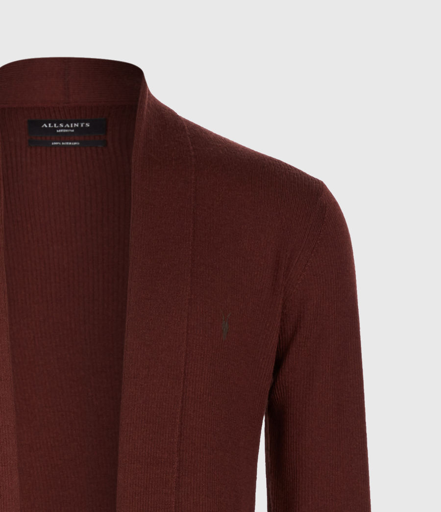 Mens Mode Merino Open Cardigan (burgundy_red) - Image 4