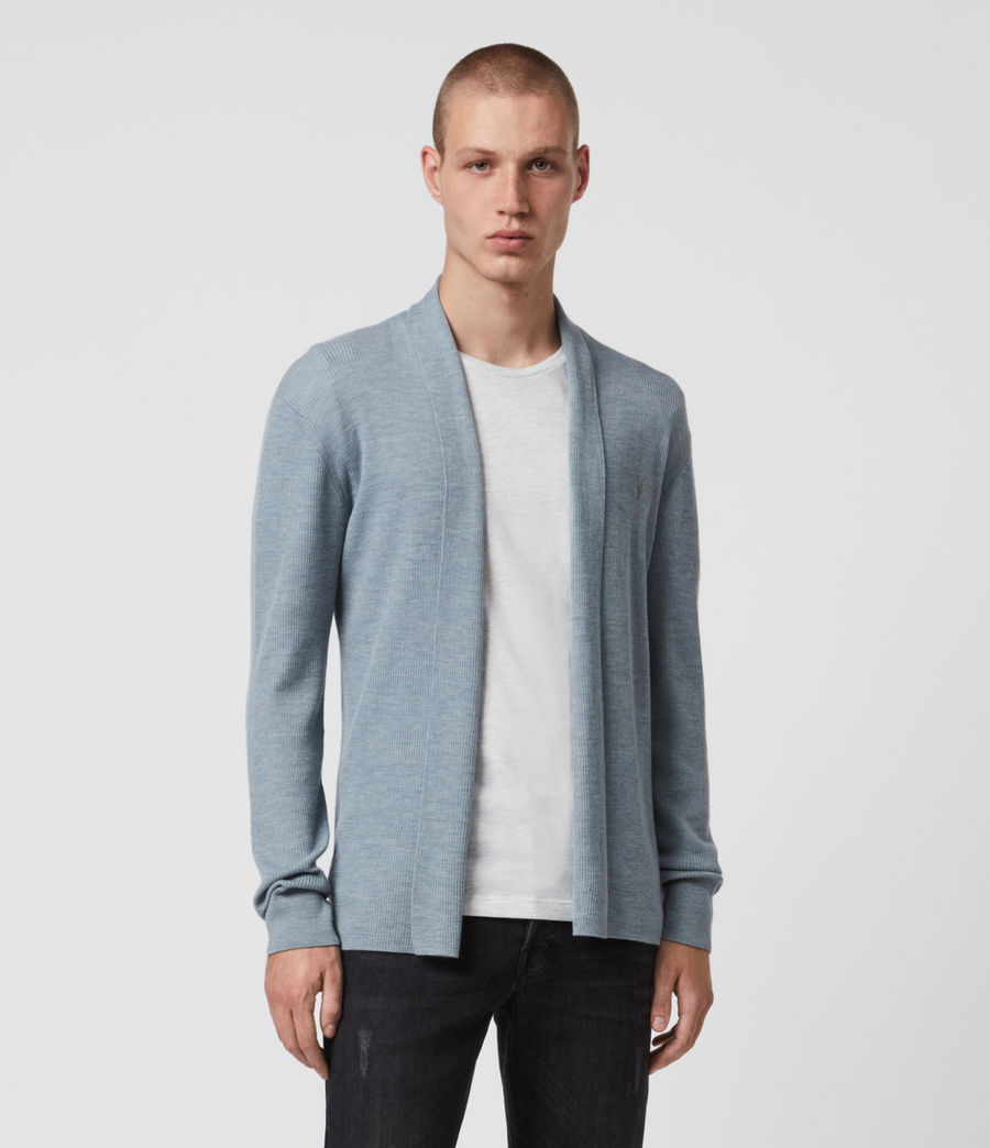 Mens Mode Merino Open Cardigan (nordic_blue_marl) - Image 1
