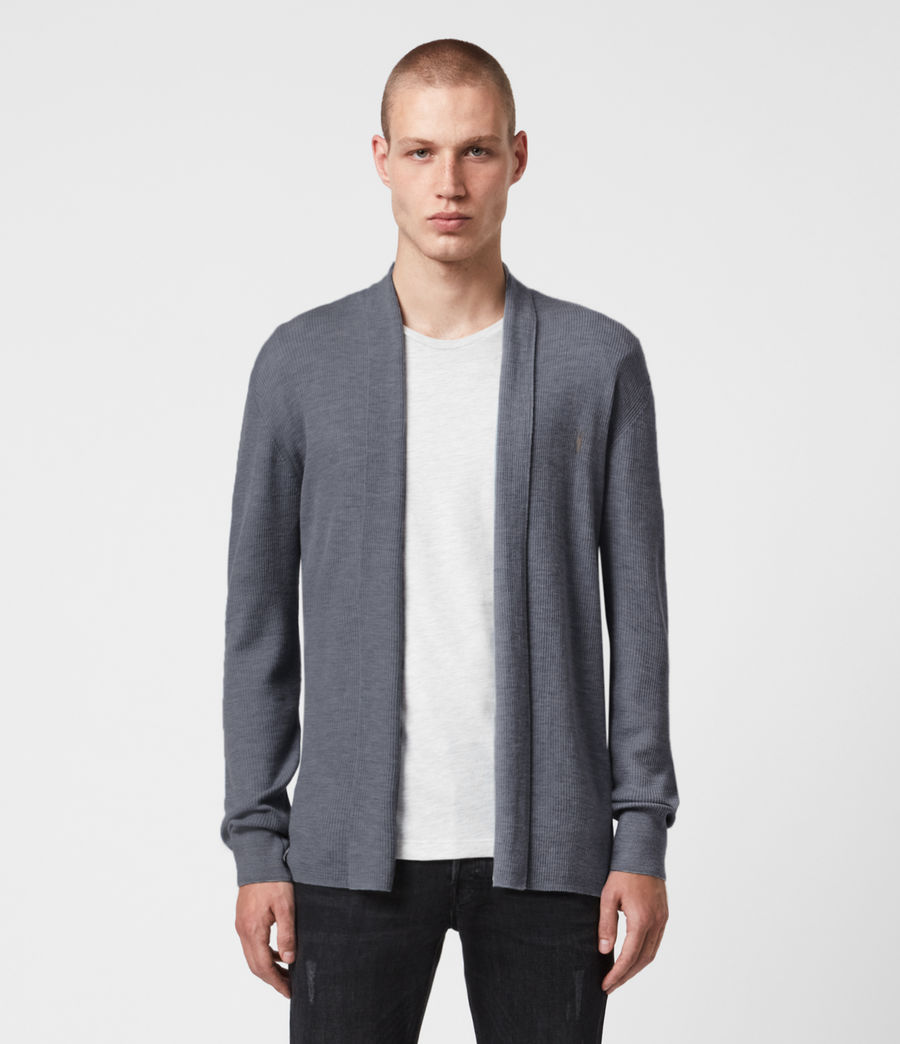 Mens Mode Merino Open Cardigan (shadow_blue) - Image 1