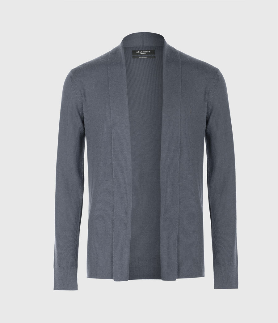 Mens Mode Merino Open Cardigan (shadow_blue) - Image 2
