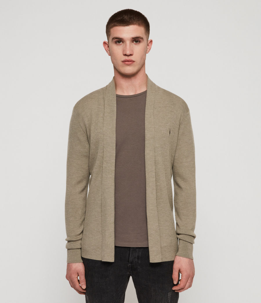 Herren Mode Merino Strickjacke (grey_marl) - Image 1