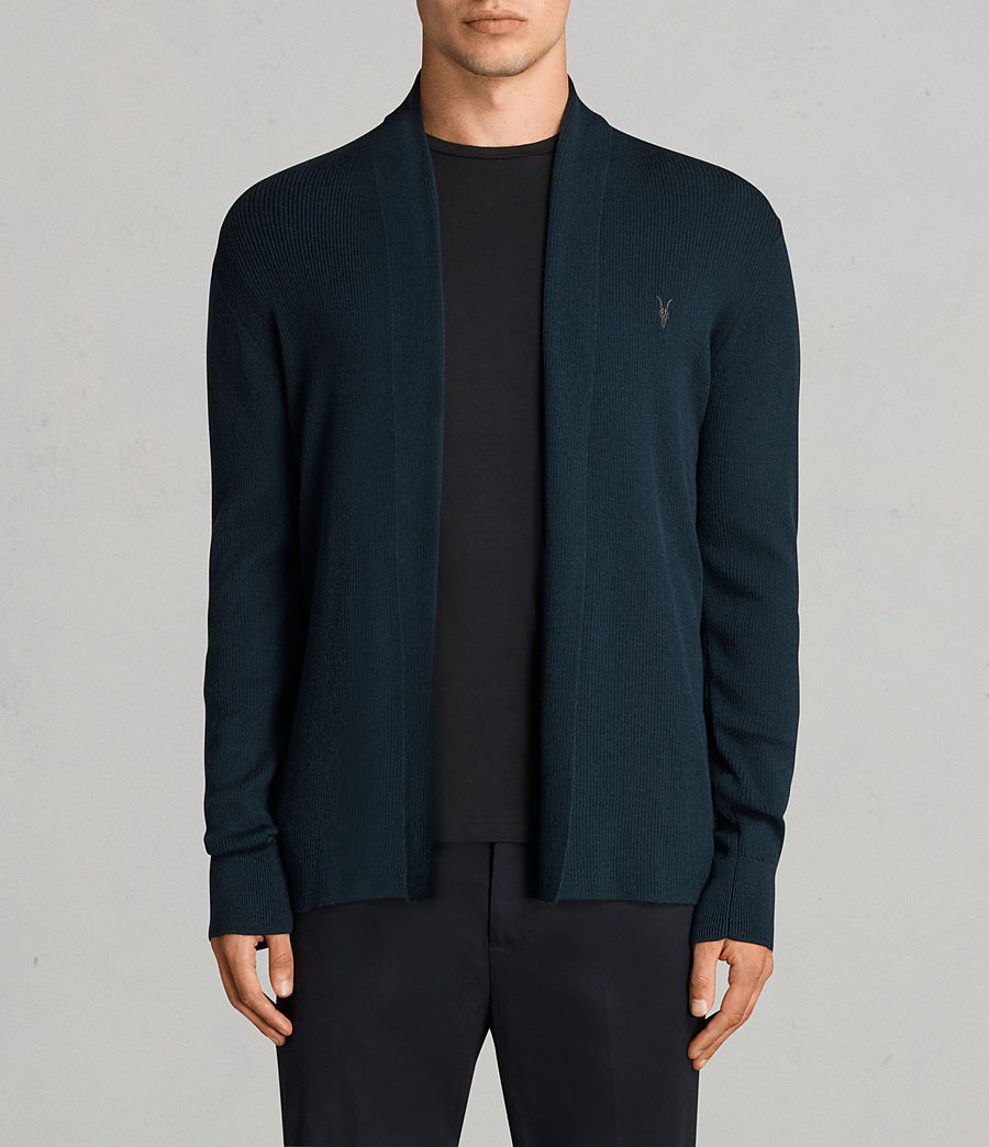 Mens Mode Merino Open Cardigan (oil_blue) - Image 1