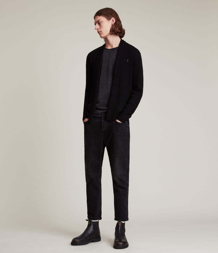 Men's Mode Merino Open Cardigan (black) - Image 4