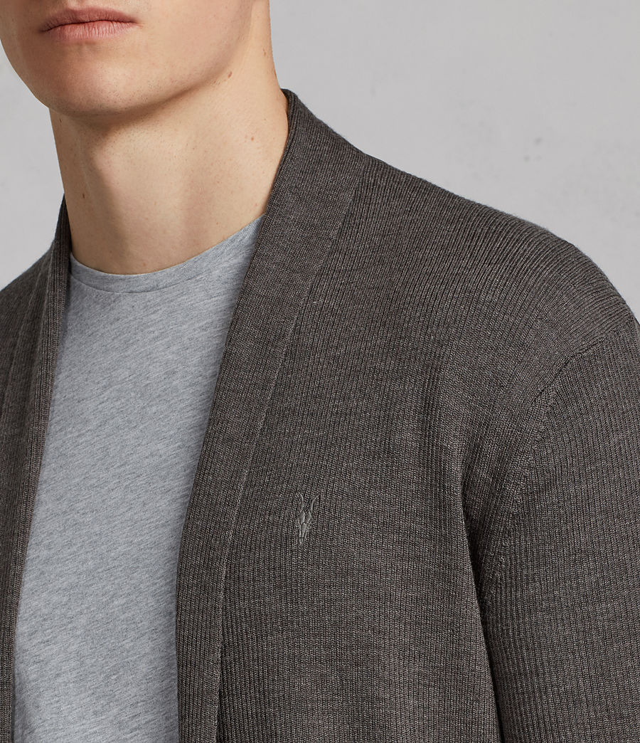 Men's Mode Merino Cardigan (heath_grey_marl) - Image 2
