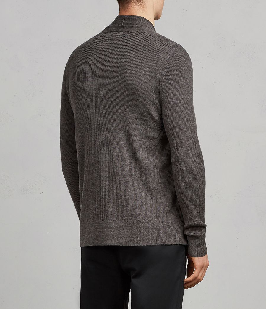 Men's Mode Merino Open Cardigan (HEATH GREY MARL) - Image 4