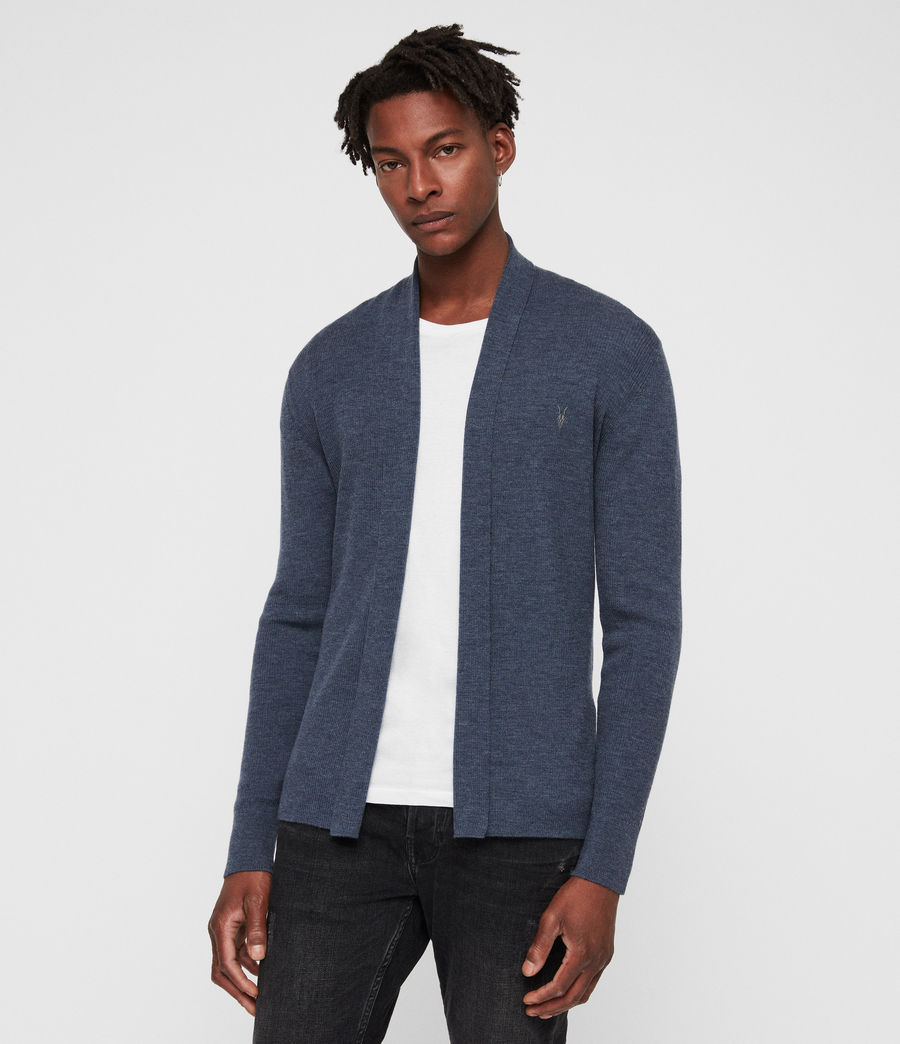 Mens Mode Merino Open Cardigan (washed_navy_marl) - Image 1