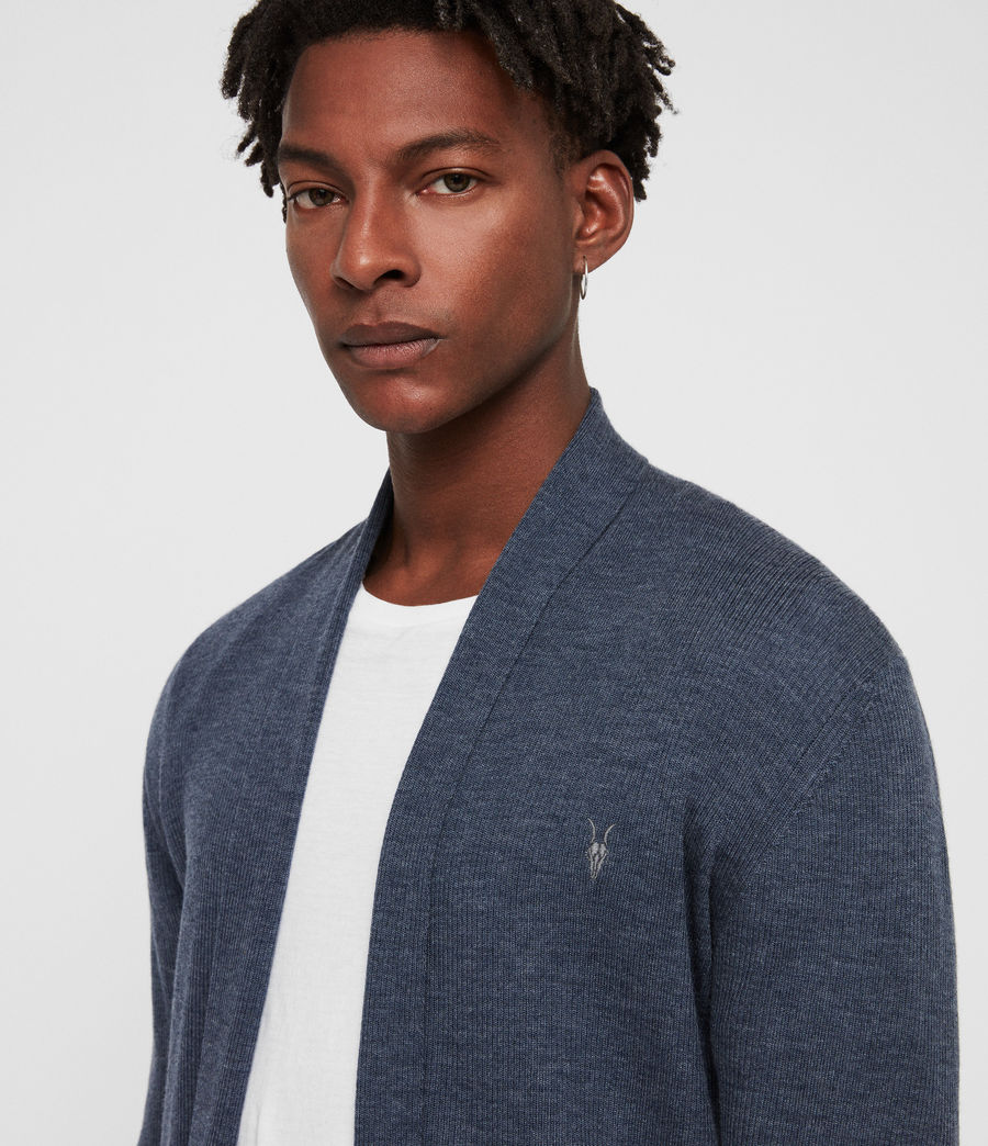 Mens Mode Merino Open Cardigan (washed_navy_marl) - Image 2