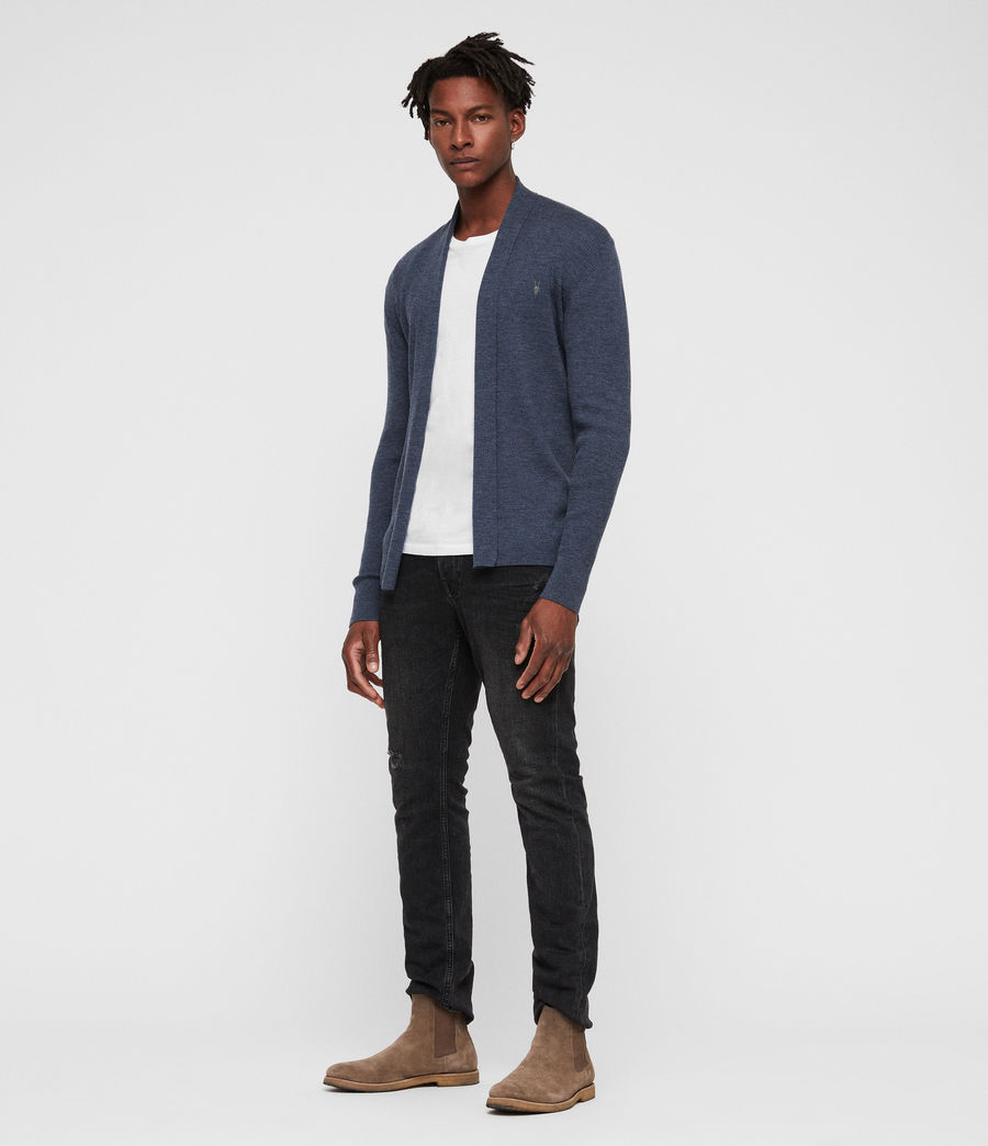 Mens Mode Merino Open Cardigan (washed_navy_marl) - Image 3