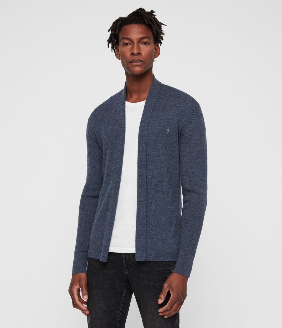 Mens Mode Merino Open Cardigan (washed_navy_marl) - Image 4