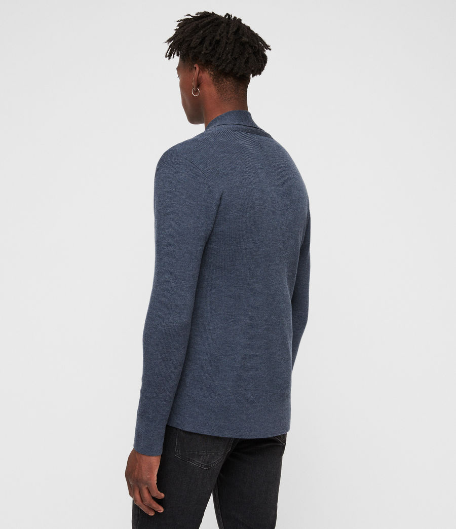 Mens Mode Merino Open Cardigan (washed_navy_marl) - Image 5