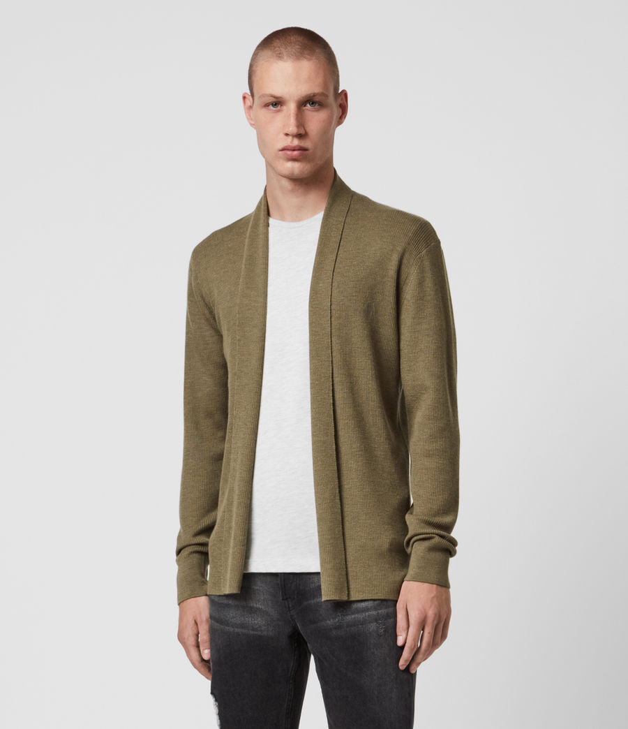 Mens Mode Merino Open Cardigan (bay_green_marl) - Image 1