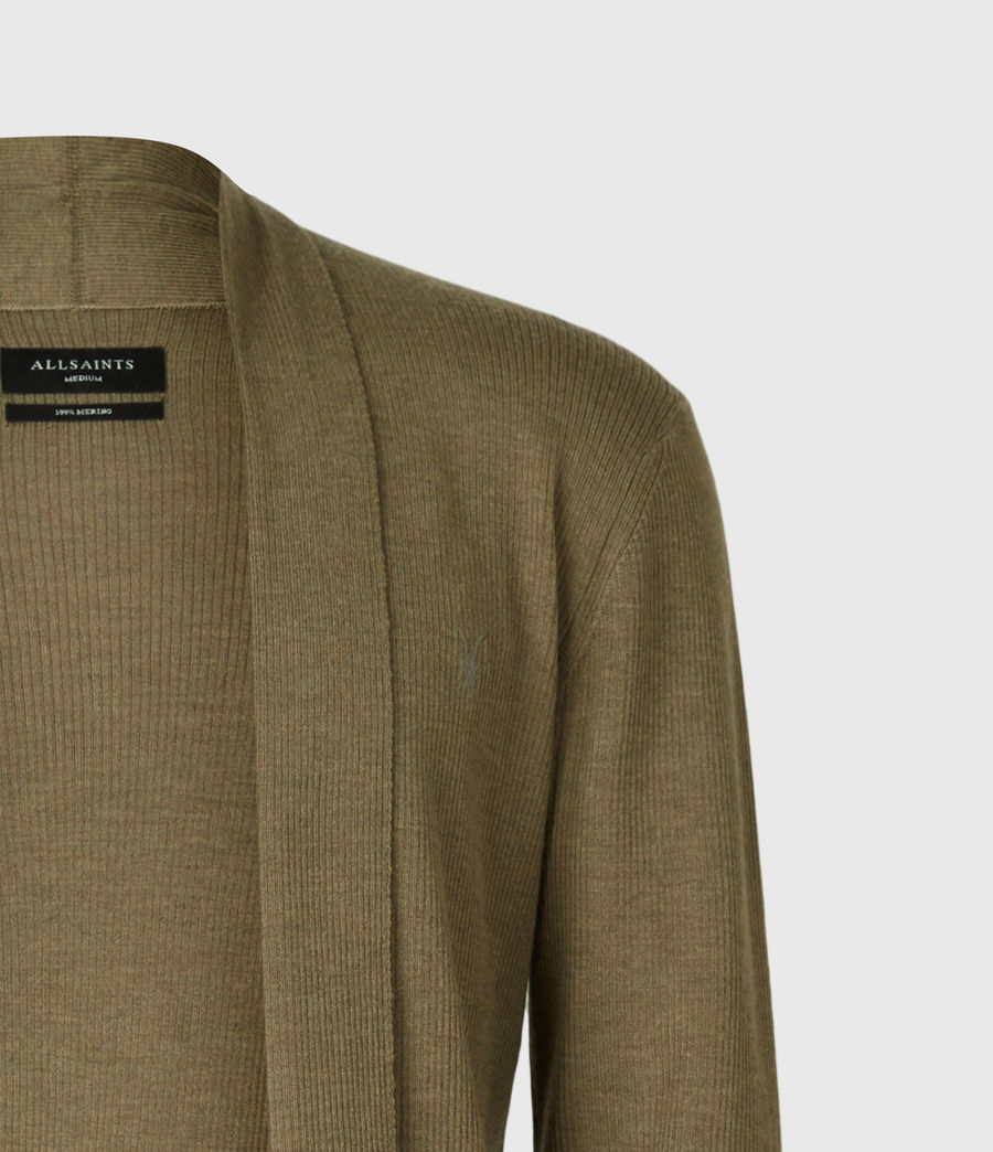 Mens Mode Merino Open Cardigan (bay_green_marl) - Image 4