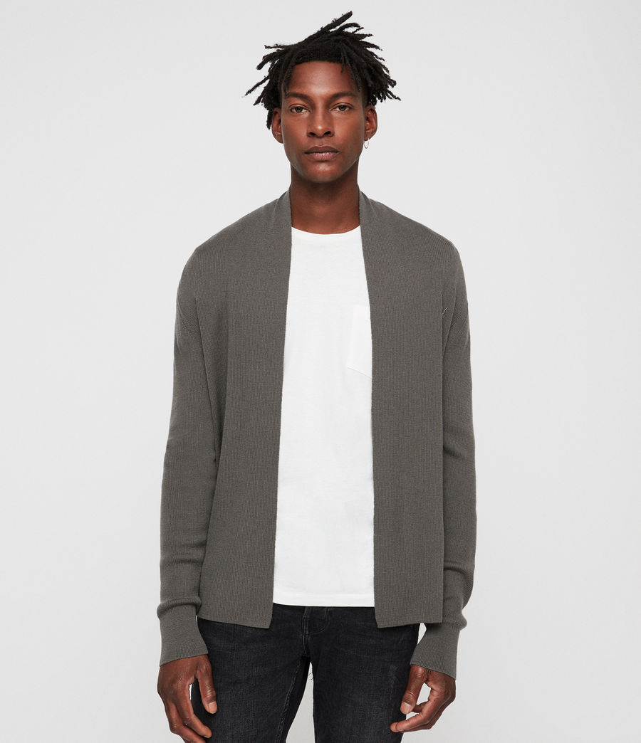Hombres Mode Merino Open Cardigan (core_grey) - Image 1