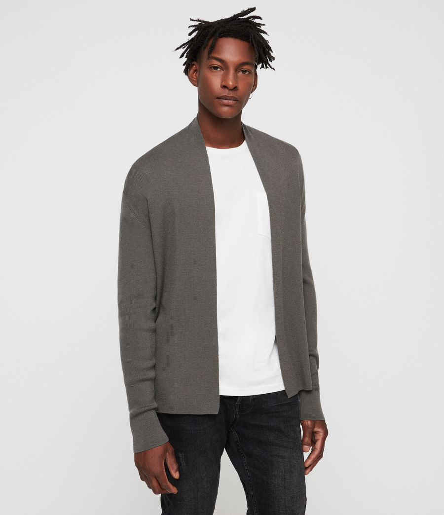 Hombres Mode Merino Open Cardigan (core_grey) - Image 4