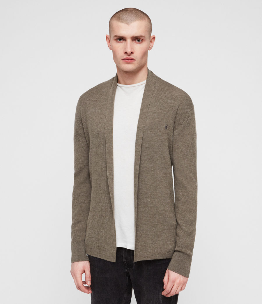 Mens Mode Merino Open Cardigan (bark_green_marl) - Image 1