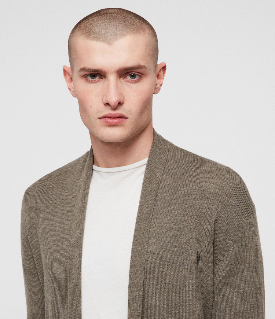 Mens Mode Merino Open Cardigan (bark_green_marl) - Image 2