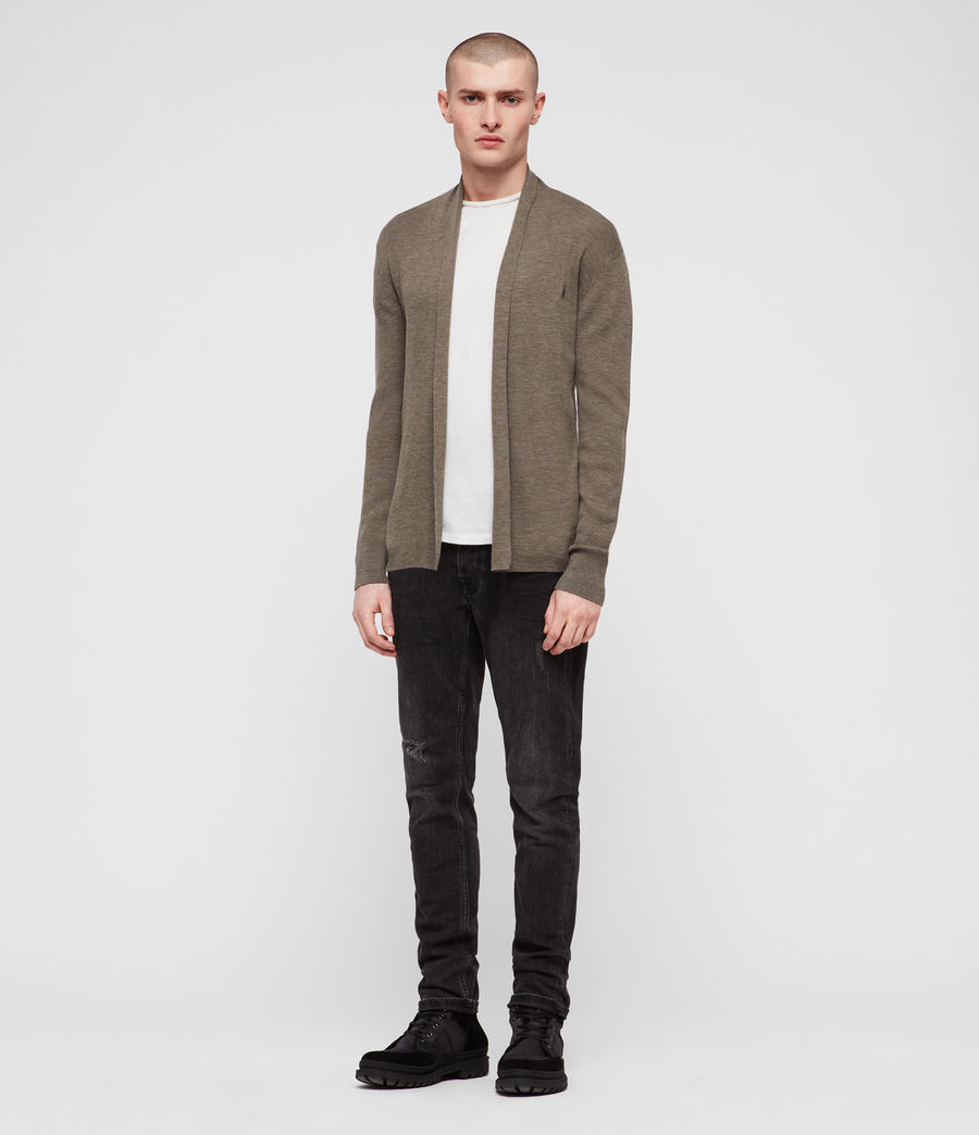 Mens Mode Merino Open Cardigan (bark_green_marl) - Image 3