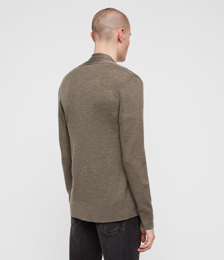 Mens Mode Merino Open Cardigan (bark_green_marl) - Image 4