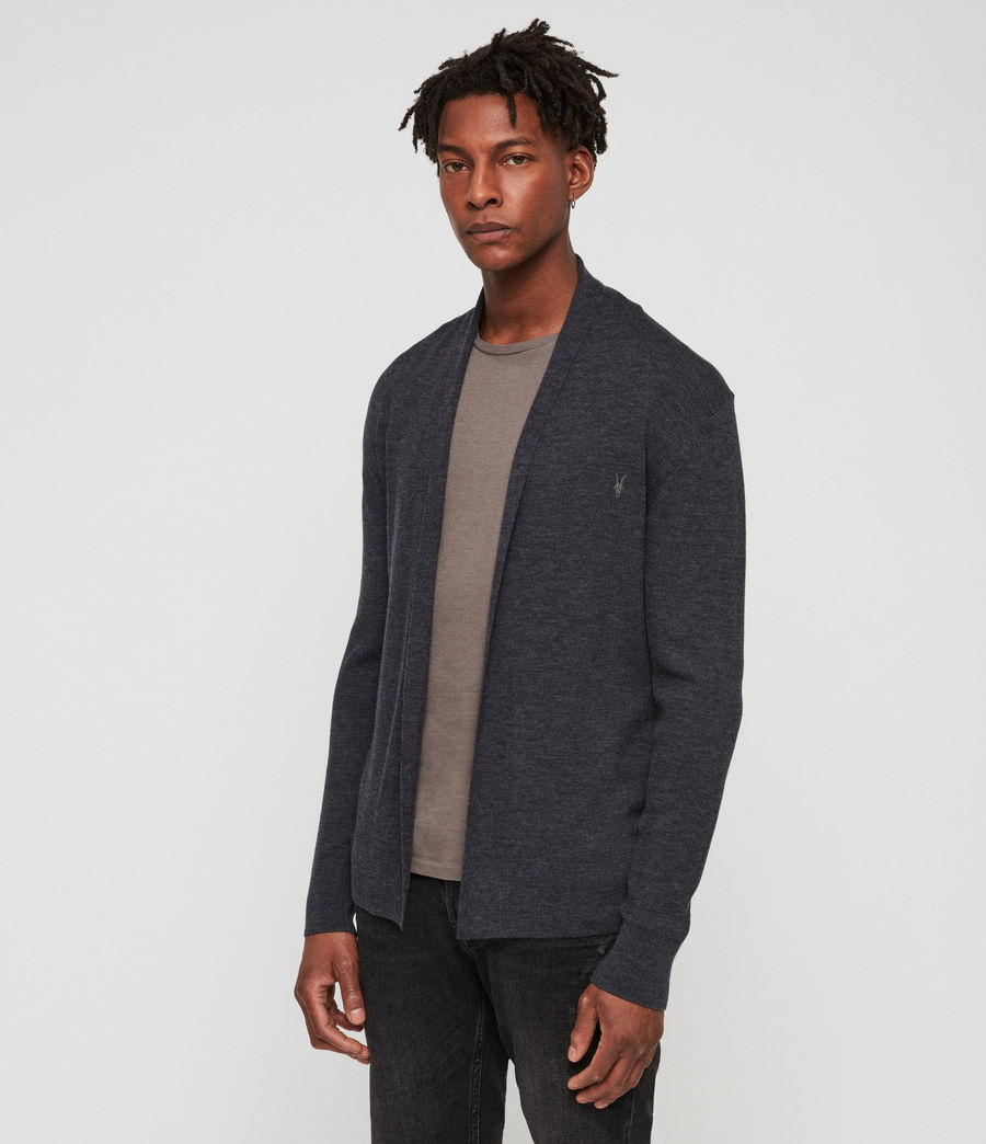Mens Mode Merino Open Cardigan (iron_blue_marl) - Image 1