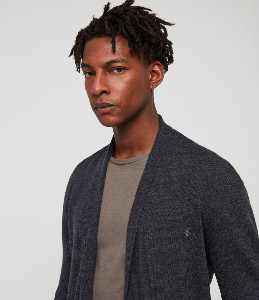 Mens Mode Merino Open Cardigan (iron_blue_marl) - Image 2