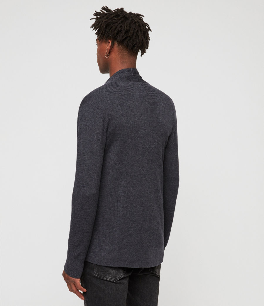 Mens Mode Merino Open Cardigan (iron_blue_marl) - Image 4
