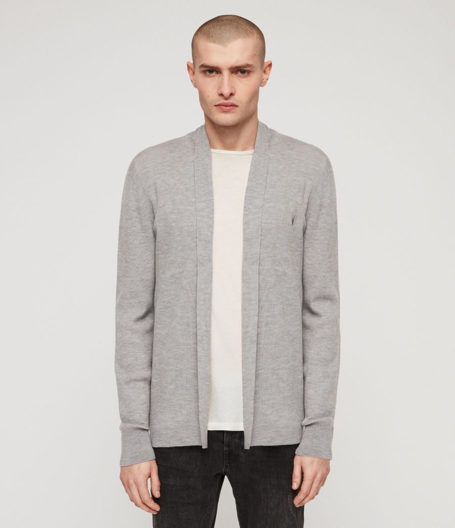 Mens Mode Merino Open Cardigan (space_blue_marl) - Image 1
