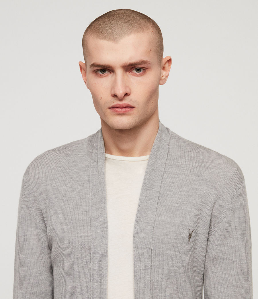 Mens Mode Merino Open Cardigan (space_blue_marl) - Image 2