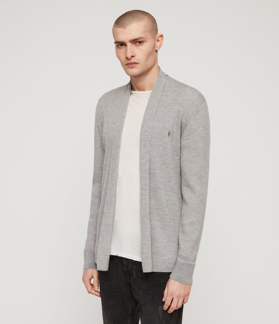 Mens Mode Merino Open Cardigan (space_blue_marl) - Image 3
