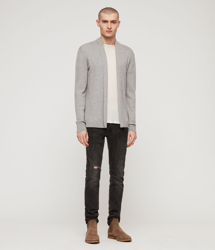 Mens Mode Merino Open Cardigan (space_blue_marl) - Image 4