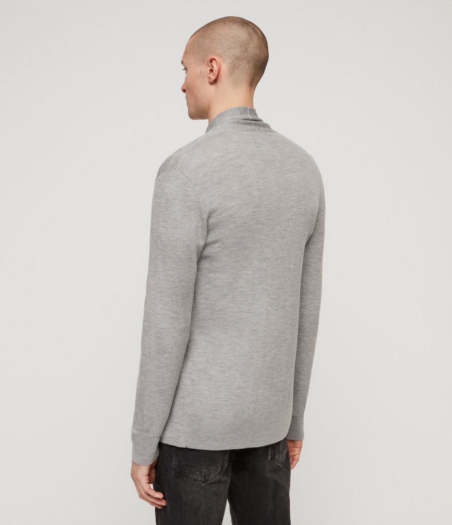 Mens Mode Merino Open Cardigan (space_blue_marl) - Image 5