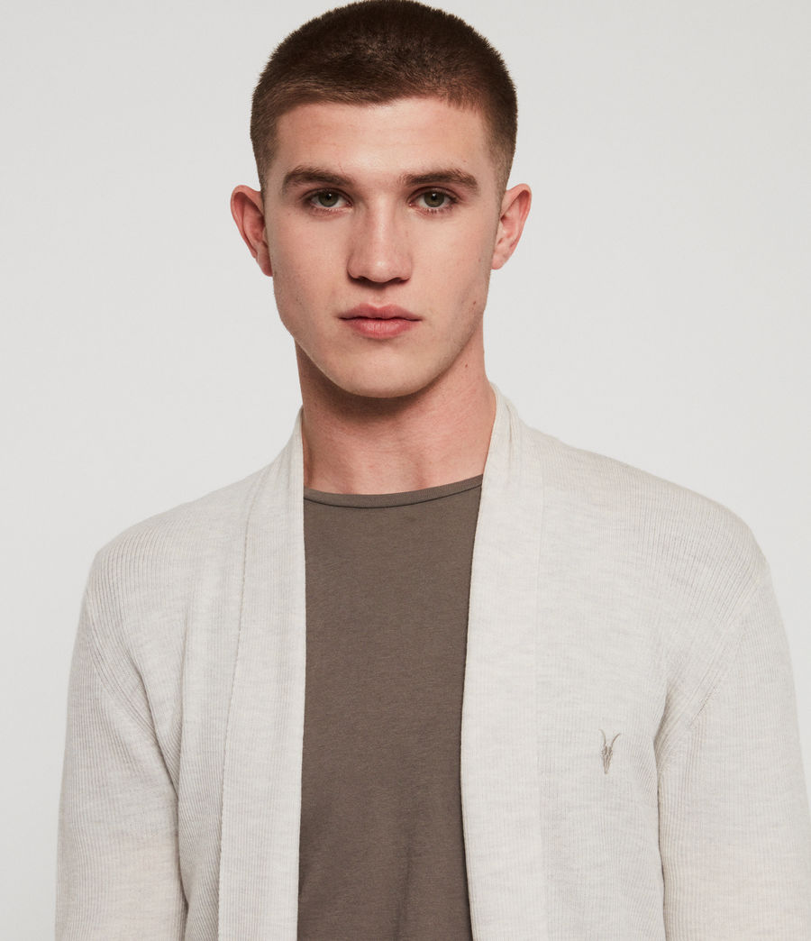 Mens Mode Merino Open Cardigan (salt_grey_marl) - Image 3