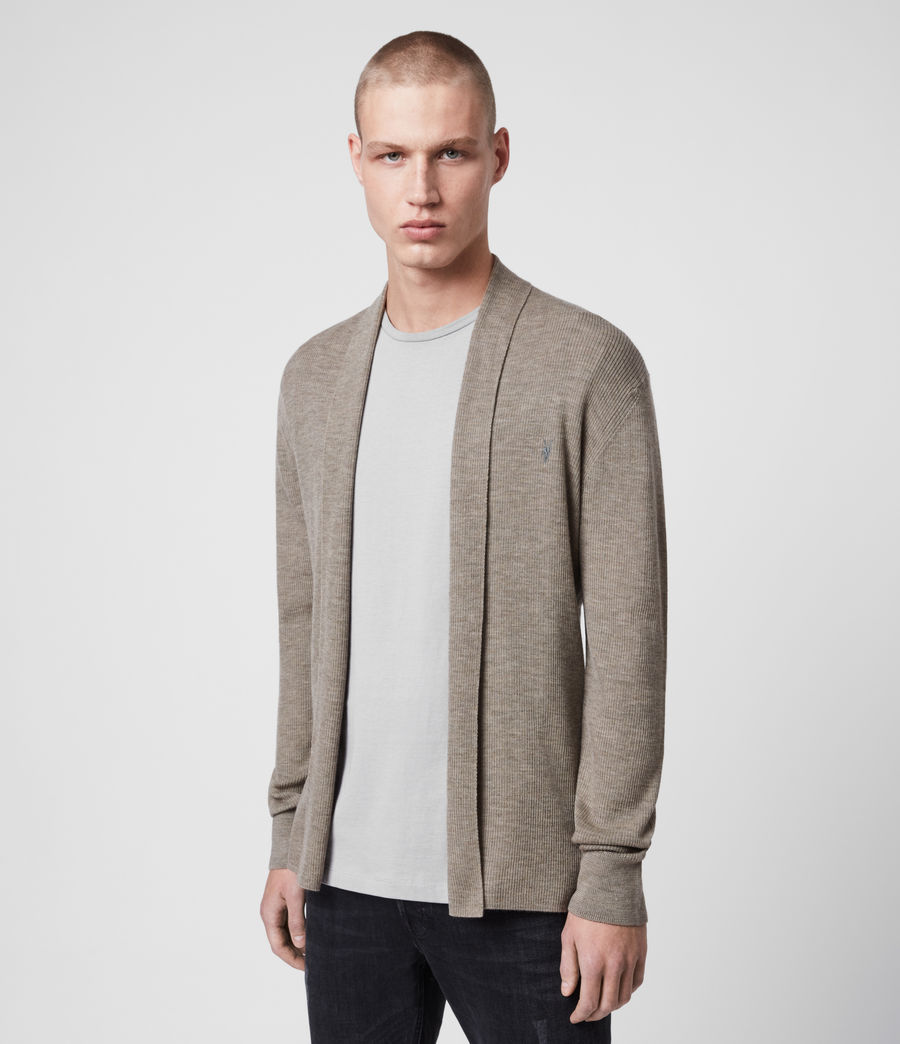 Mens Mode Merino Open Cardigan (sage_green_marl) - Image 1
