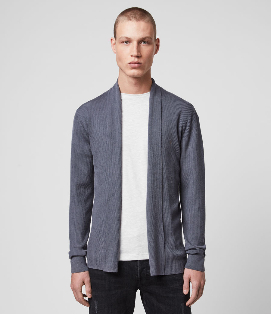 Mens Mode Merino Open Cardigan (ridge_blue) - Image 1