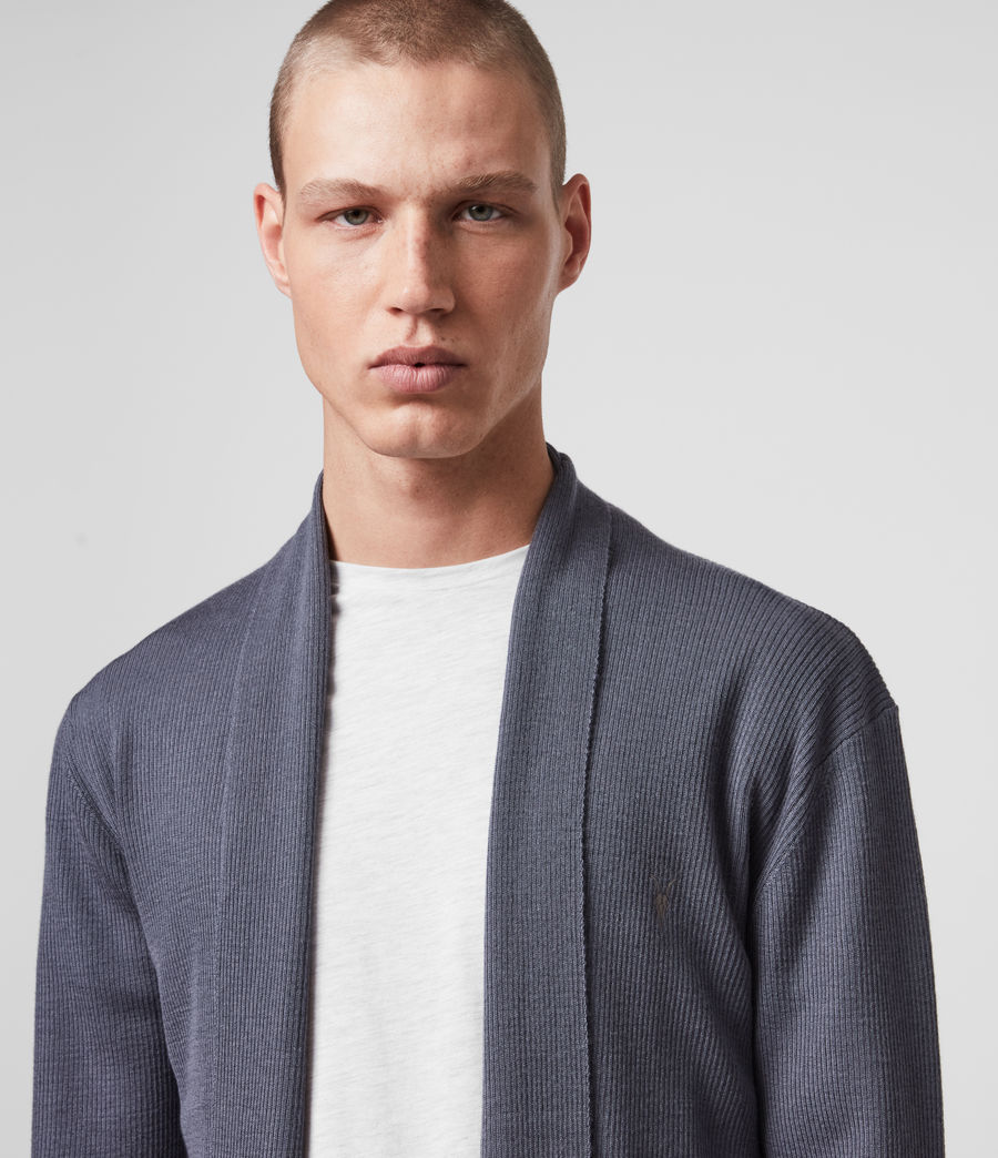 Mens Mode Merino Open Cardigan (ridge_blue) - Image 2