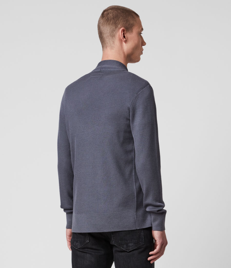 Mens Mode Merino Open Cardigan (ridge_blue) - Image 4