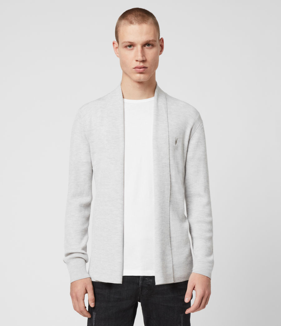 Hommes Cardigan Mode Merino (light_grey_marl) - Image 1