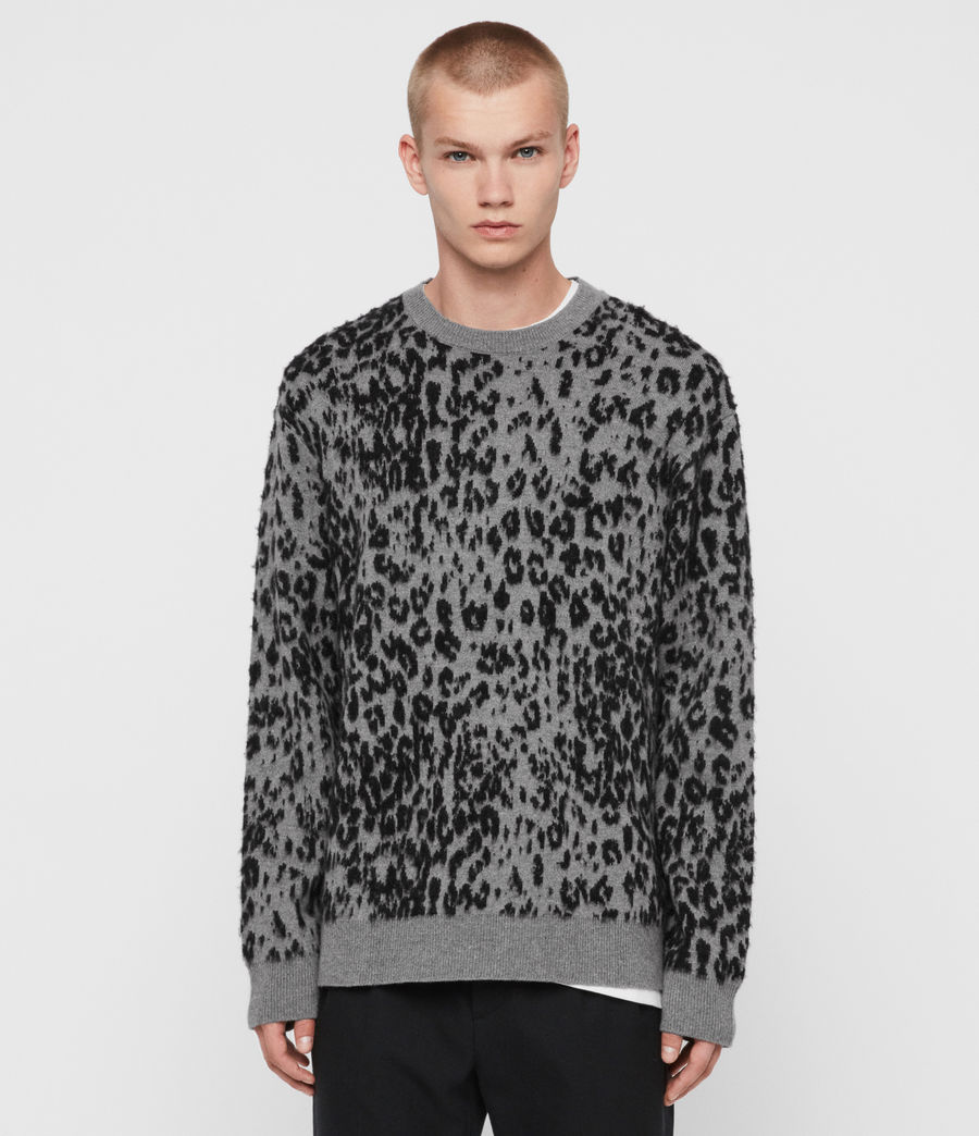 Mens Wildcat Crew Sweater (grey_marl_black) - Image 1