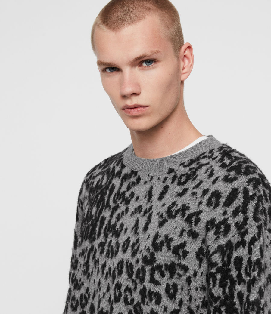 Mens Wildcat Crew Sweater (grey_marl_black) - Image 2