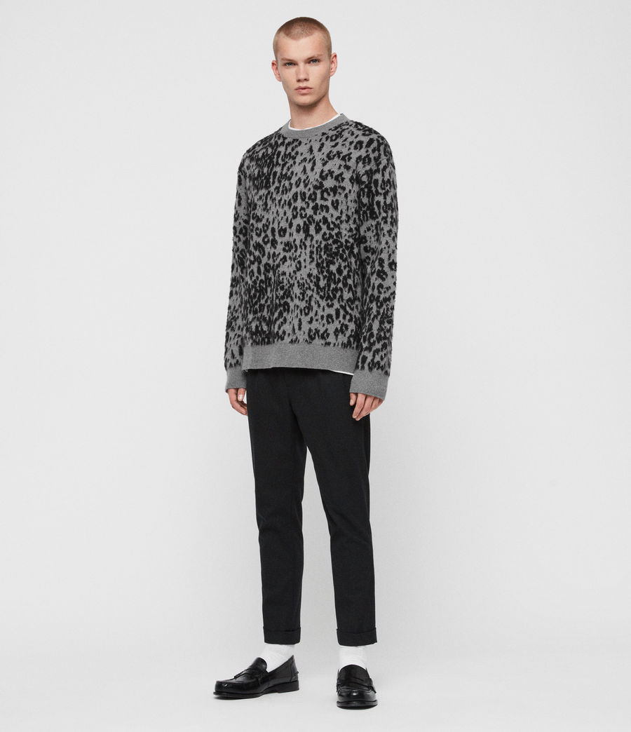 Mens Wildcat Crew Sweater (grey_marl_black) - Image 3